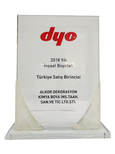 DYO 2018 Yılı İnşaat Boyaları Türkiye Satış Birinciliği Plaketi
