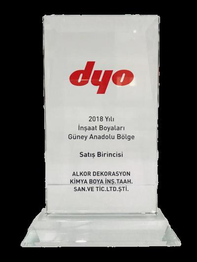 DYO 2018 Yılı İnşaat Boyaları Güney Anadolu Bölge Satış Birinciliği Plaketi